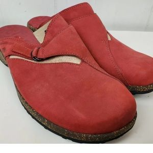 Teva Red Leather Mules